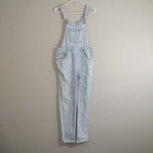 Forever 21 Distressed Jeans Overalls